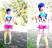 ♥Leena Evans - Ebay Pink Minnie Mouse Shirt, Wet Seal Blue & White Striped Tanktop, Pink Shorts, Target Yellow Striped Over The Knee Socks - Pastel nerd.