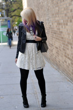 Kimberly Grace . - Forever 21 Jacket, H&M Bow Belt (Backwards), Forever 21 Dress, Seychelles Romance Boots - Tea & Sympathy