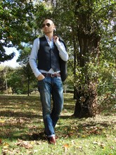 "Beyond Fabric - Vintage Brushed Cotton Navy Vest, Levi's® Levi's 511 Jeans, Lottusse Distressed Brown Loafers, Our Legacy Striped Oxford Shirt, Rice Charcoal Blazer - ""Essence of Autumn"" blog contest"