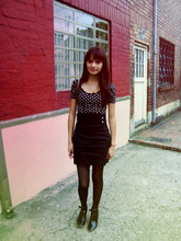 Juliana P. - H&M Polka Dotted Blouse, H&M High Waisted Skirt, Local Store Polka Dotted Tights - Voltage spikes