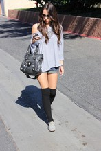 Jacqueline N - Unknown Brand Off The Shoulder Top, Balenciaga Giant City, Forever 21 Denim Shorts, Forever 21 Over The Knee Socks, Steve Madden Oxfords - Casual grays