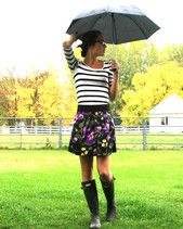Sloane M - H&M Striped Dress, Urban Outfitters Floral Skirt, Hunter Rain Boots - Revel in the rain