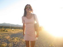 Sloane M - American Apparel Cotton Dress - Concert in pink
