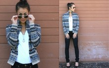 Sloane M - Gap 1969 Skinny Jeans, Gap T Shirt, Unknown Sweater Coat - Smoke gets in your eyes