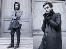 CLEMENT LOUIS . - Cos Black Leather Blouse, Fleepmarket Grey Blazer, 0044 Paris Grey/Brown Pant, Rick Owens Big Brow/Green Bag, Dr. Martens Black Leather Boots - PYRAMIDE DU LOUVRE/ CLEMENT LOUIS