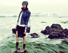 Autumn Polk - Levi's® Levi Jacket, Wasteland Ankle Boots, Coach Purse - Sea Enenimies
