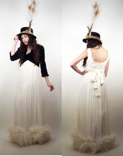 Rachel Hunt - Vintage 60s White Maxi Dress With Ostrich Feather Hemline, Thrifting. I Added Feathers & Jute Vintage Hat With Blonde Peacock, Vintage Black Velvet Crop Jacket - LIGHT as a FEATHER