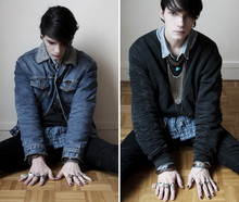 Romain Le Cam - Thrifted Blue Stone Necklace, Thrifted, Dk. Golden Chain Into Plexi Bracelet, Memories So Many Rings, Wranglers Vintage Denim Jacket, H&M Squarred Blue Cotton Shirt, Weekday Dark Cotton Sweatshirt, Levi's® Vintage Denim Shirt, Le Cam Romain Hand Made Chain Necklace, Gaspard Yurkievich Silver Chain - AND THE SKY WAS MADE OF AMETHYST