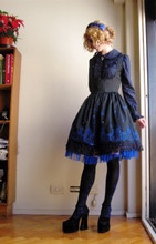 Rita Trixtar - Surface Spell Underbust Dress, Hmhm Ruffled Shirt, Selfmade Blue Lace Headdress, Moi Même Moitié Diamond Rose Socks, Thrifted Velveteen Platform Pumps - Analog dream