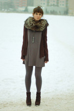 Maddy C - Zara Boots, H&M Cardigan, Vintage Stole - Vintage stole.