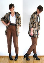 Marianne N - Secondhand Oversized Bomberjacket, Zara Highwaisted Trousers, Din Sko Black Ankle Boots - Gold + Brown