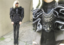 Andre Judd - Catherine Cavilte Cropped Ruffled Dramatic Shoulder Jacket, Ac For Fh Opulent Neckpieces Worn As A Cluster, Protacio Empaces Jr. Button Down Shirt, H&M Gartered Boots - BLACK CIRCUS
