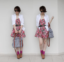 Barbara Zanella - Makenji White Shirt, Cynthia Villalba Floral Dress, Morango Striped Bag, Lupo Pink Socks, Gigi Marri Brown Clogs - Almost summer