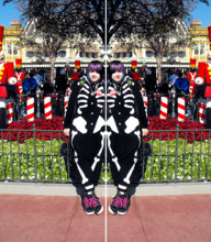 ♥Leena Evans - Skeleton Kigurumi, Ross Black& Rainbow Shoes, Black & White Knee High Sock, Disney Anniversary Pin - When you wish upon a ★