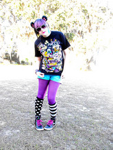 ♥Leena Evans - B&W Striped Sunglasses, Disney Shirt, Blue Shorts, Puple Tights, Black & White Sock, Downtown Disney B&W Polka Dot Sock, Disney Minnie Mouse Ears - A dream is a wish you make with your ♥.