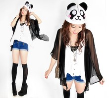 Hannah Tan - My Brother's D I Y Panda Beanie, Sheer Cardigan, Topshop White Crop Top, Topshop Shorts, Forever 21 Black Wedges, Gucci Bag - It's so fluffyyy, I'm gonna die!