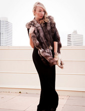 Betsy Berger - Vintage Fur Vest, H&M Black Maxi - Heads or Tails