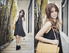Tricia Gosingtian - Love Dress, Soule Phenomenon Finsk Inspired Wedges, Gold Dot Bag, Forever 21 Cross Necklace - 122210