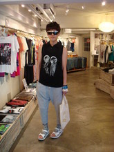Vincent Hsu - Brian Lichtenberg Tank, Prada Polo, Issue Trouser, Mbt Sandals - Summer Time