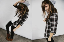 Bethany Olson - Buffalo Exchange Beanie, H&M Button Up Flannel, Minnetonka Moccasin Boots - One, Two, Ready, GO.