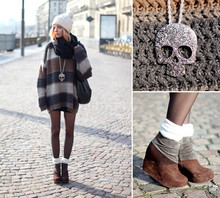 Martina M. - Gina Tricot Skull Necklace, Jeffrey Campbell Wedges, Vintage Sweater - Hello sun.