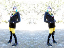 ♥Leena Evans - Black Coat, Hottopic Yellow Bandana, Black Shorts, Yellow Tights, Spencers Skeleton Socks, Bells Star Shoes - Winter Days.