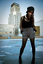 Chloë Akers - 20's Style Cloche Hat, Lace Top, High Waisted Shorts, 5 Inch Wedge Platform Shoes - My~ Oh my~