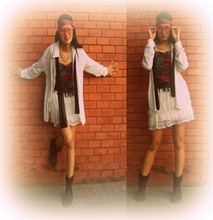 "Spelled as ""G""essica Caser - Necktie Used As Hair Accessory, Lace Skirt, Chained Necklace, Star Sunglasses, Fringe Sleeveless Shirt, Boots, Scarves - These bricks are built in ancient years"