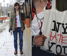 "Yannick K. - Accessoires, Wemakethecake ""Ny Hates You"" Printed Canvas Bag, American Apparel Bara Ba Ba Baa I'm Lovin' It, Vintage Green Parker, Xmas Gift By Mom <3 Black Leather Gloves, Primark Red Lumberjack Shirt, Diesel Brown Leather Belt, Cheap Monday Blue Jeans, Topman Brown Lace Ups - I'll go get a ring let the choir bells sing like oooh"
