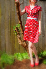 Taylor B - Lace Scarf, Vintage Red Dress, Red Heels, Red/White Polkadot Earrings - Red and White