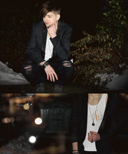 Yannick K. - Black Rivet Collar Blazer, Black Double Finger Cross Ring, Black Slim Fit Ripped Jeans, White Self Shredded Vest, Dark Grey Shoes - There's no-one here at all, behind these castle walls
