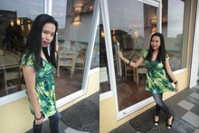 JayTee F - For Me Summer Green Long Blouse, Wood Bangles, Stamps Jigsaw Leather Watch, Pabder Glittered Doll Shoes, Denim Jeggings - Lunch date with my 10-year Bestfriend :)