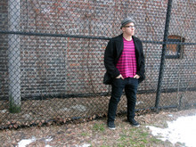 Russ T - H&M Grey Fedora, Calvin Klein Sort Of A Pea Coat, Marc By Jacobs Magenta Striped Shirt, Levi's® Skinny Jeans, Spring Black Sneaker/Boots - WhenWe'dHangAround&ListenToBacharach