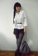Thais Chung - Limelight Embroidered Satin Blazer, Miss Selfrigde Ruffled Blouse, Handbook Shorts, Chain Bag, Trifil Thigh High Socks, Bow Ankle Boots - 2011 !