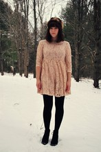 Maria C. - Asos Faux Fur Hat, Forever 21 Lace Dress, Forever 21 Desert Boots - Woodland Wishes