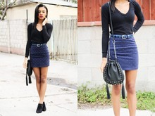 Amara nichole . - Black Studded Drawstring Bag, Blue Studded Body Con Skirt, Studded Black Drawstring Bag - Mystery Women.