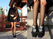 Denni Elias - Miu Miumiu Shoes And Shoe Bottoms, Gerbe Tights, American Apparel Aa Cape - Shoe sparkles