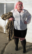 Brenda Jeanome - 99 Cents Store Black Rosary, Have A Heart Sheer Blouse, Have A Heart Leopard Coat, Avenue Knee Highs, Payless Heels, Torrid Pencil Skirt - Fuzzied flasher