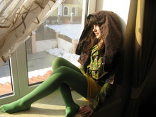 ANECHKA ... - Puledro Bolero With Hood, Shirt With Embroidery, Terranova Vintage Skirt, Green Tights, Sister Gift For Christmas:)) - ☜♡☞    GREEN DREAM ABOUT SPRING   ☜♡☞