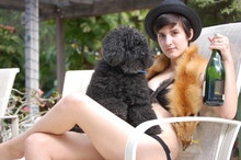 Camille . - Urban Outfitters Straw Hat, Art By God Fox Pelt, Poodle, H&M Bathing Suit - $$$$