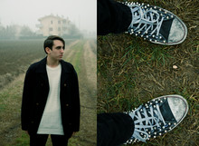 Marco M. - Gap Studded Black Converse (Customized By Gienchi Gap), Cheap Monday Black Skinny Jeans, Navigare Oversized Vintage White Jumper, Zanolini Oversized Vintage Black Peacoat - Wine & Bigoli all'anitra