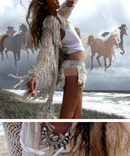 Oraclefox . - Bonds White Wife Beater, ? Vintage Torn Shorts, From Bali Woven Leather Jacket, Love Quartz Tribal Necklace - Castles Made of Sand