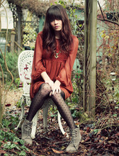 Rachel-Marie Iwanyszyn - Topshop Dress, Topshop Deer Necklace, H&M Dotted Tights, Topshop Wedge Boots, Http://Www.Jaglever.Com - The Secret Garden