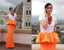 Andy T. - Jil Sander Orange Skirt, Jil Sander Tee - JIL SANDER