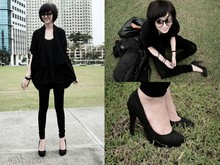 Dana B. - Diy, Kristen Heels, Jeggings, Oversized Cardigan, Aether Grapes Ygg Glasses - Back to Black