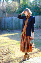 E Maille - Vintage Blazer, Vintage Cowl Neck Sweater, Urban Outfitters Belt, Vintage Skirt, Bally Bag, Tory Burch Boots - Hollow bones
