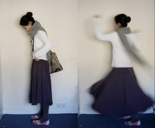 Léa Lucid - All Saints Scarf, Street Market Top, My Mom's Skirt, Lacoste Flats, My Mom's Bag - Real long big purple