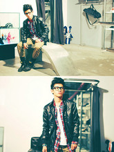 David Guison - Forever 21 Leather Jacket, Forever 21 Flannel, Forever 21 White V Neck, Forever 21 Taupe Pants - We Are Young, We Run Free