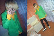 Kira Saku - Pimkie Glasses, Vintage Yellow Shirt, Vintage Green Jacket, Levi's® Black Jeans, Montreal Creepers - Hey, mister!