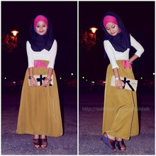 Nurul Hidayati - H&M Pashmina, Cotton On White Long Sleeve, Juicy Bow Clutch, Obb Novelty Maxi Skirt, Vincci - Dance with me, make me sway.